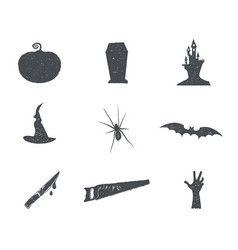 Set of halloween silhouette isons vintage hand vector