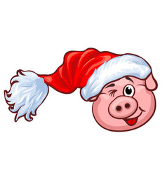 smiling pig with christmas santas red cap vector image