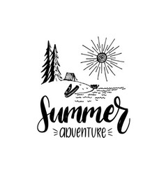 Summer adventure poster with lettering vector