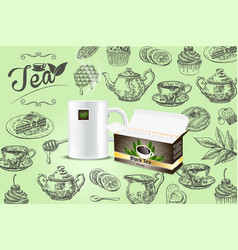 tea poster banner design template vector image
