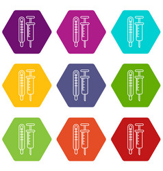 thermometer syringe icons set 9 vector image