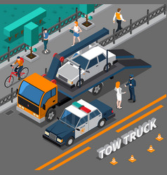 Tow truck isometric composition vector