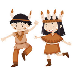 Two kids dressed as indians vector
