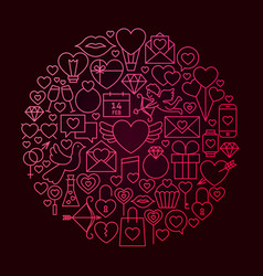 valentine day line icon circle concept vector image
