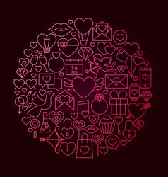 Valentine day line icon circle concept vector