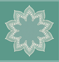 Vintage lacy frame on blue background doily vector