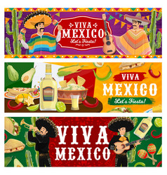 viva mexico fiesta party banners set vector image