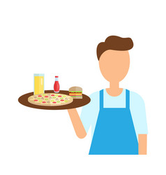 Waiter of cafe carrying order servant with food vector