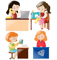 women doing different types of job vector image