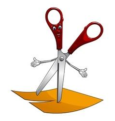 Cartoon scissors cut yellow paper vector image