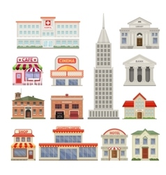 City Buildings Decorative Icons Set vector image vector image
