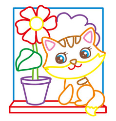 coloring book of cute kitten vector image vector image