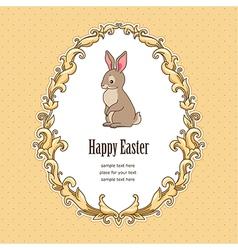 Frame bunny easter vector image