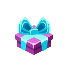Purple Gift Box With Blue Bow With Present vector image vector image