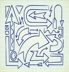 set of arrow doodle vector image vector image