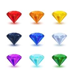 Set of bright shiny gemstone on white vector image