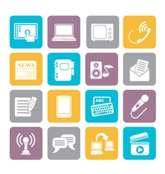 Silhouette Communication and connection icons vector image vector image