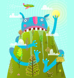 funny scary amazing monster sitting on mountain vector image