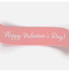 Holiday pink paper Valentines Day Ribbon vector image