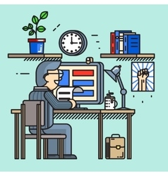 Modern creative office desk worker in line flat vector image