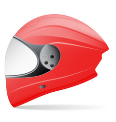 red motorcycle helmet side view isolated on a vector image
