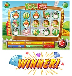 Slot game template with farm animal characters vector image vector image