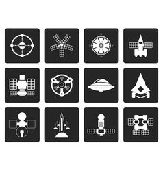 Black different kinds of future spacecraft icons vector image vector image