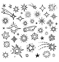 doodle stars set isolated on white hand vector image vector image
