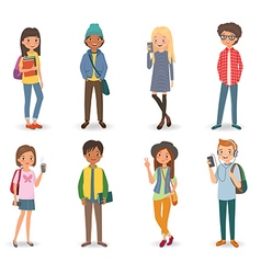 International students with books phones and vector image vector image