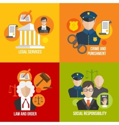 Law flat icons vector image