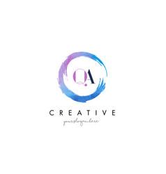qa letter logo circular purple splash brush vector image