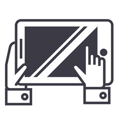 tablet in hands line icon sign vector image
