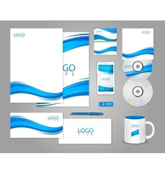 White corporate identity template with blue waves vector image