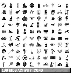 100 kids activity icons set simple style vector image vector image