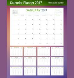 Calendar planner template for 2017 year week vector