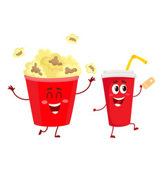 cinema popcorn and soda water characters with vector image vector image