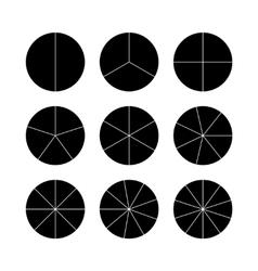 Circle segments set Black flat color vector image