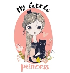 cute little princess with black cat vector image vector image