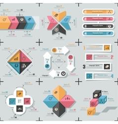 Set Of 9 Flat Minimal Infographics vector image