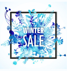 winter sale banner with blue watercolor bouquet - vector image vector image