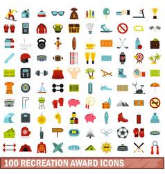 100 recreation award icons set flat style vector image