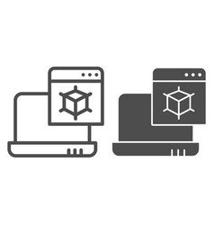 3d modelling line and glyph icon laptop with 3d vector image