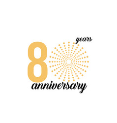 80 year anniversary firework template design vector