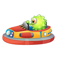 A one-eyed monster riding a car vector