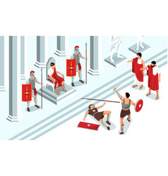 Ancient gladiators fight composition vector