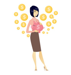 Asian business woman holding a piggy bank vector
