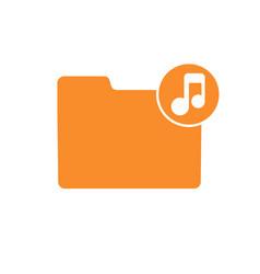 audio folder media music note player sound icon vector image