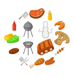 bbq icons set cartoon style vector image