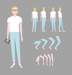 Blonde woman character animation set vector