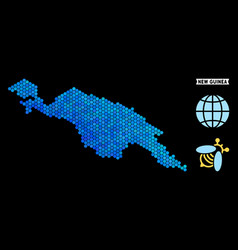 Blue hexagon new guinea countries map vector